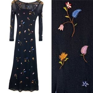 Vivienne Tam Embroidered Maxi Dress Vintage Small
